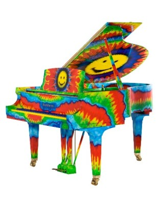 Highly coloured picture of a piano