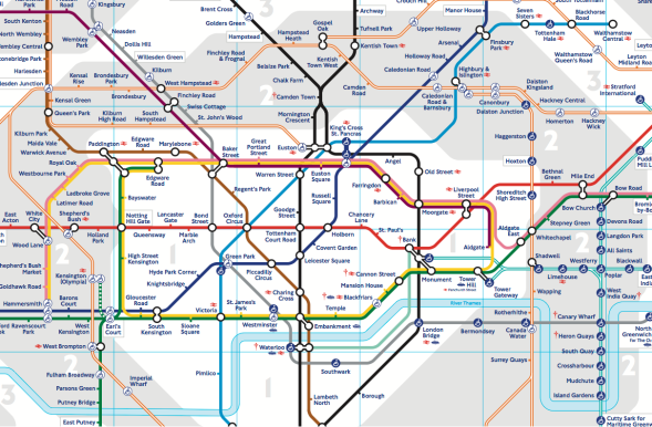A picture of the map of the London Underground