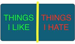 A diagram of the hate/like dichotomy