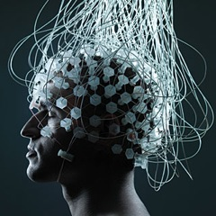 A person with electrodes on their head.