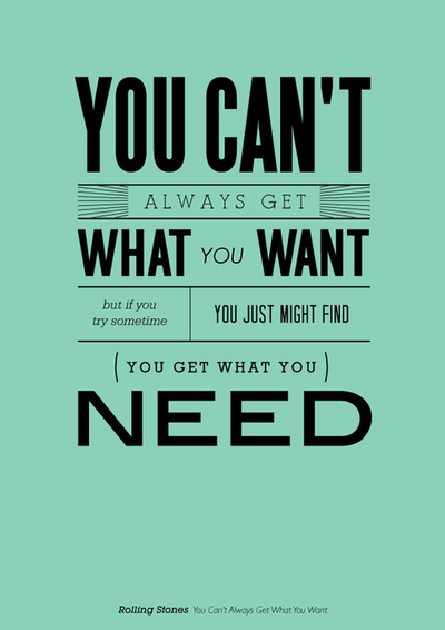 "A poster with some of the lyrics for the Rolling Stones song ""You can't always get what you want"""