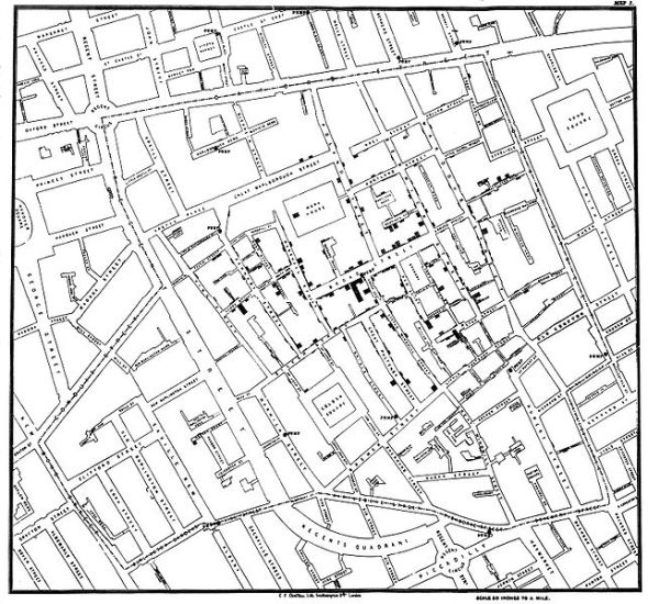 Snow's Cholera outbreak diagram - 1854