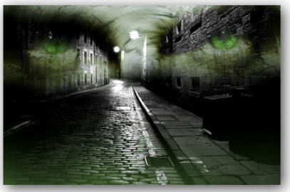 A picture of an alley with green eyes floating, superimposed over it.
