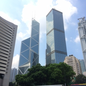 Buildings are big in Hong Kong.