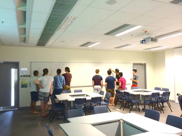 Here, the two groups are sketching out what they think happens with Web traffic - BEFORE we do the lesson.
