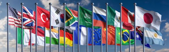 The current G20 flags. How long will Australia be in there?