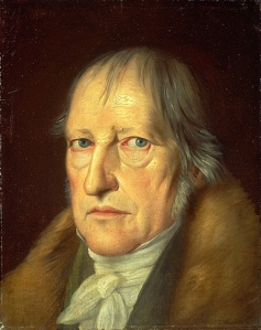 A portrait of Hegel, staring at the reader. He has intense blue eyes and wispy grey hair.