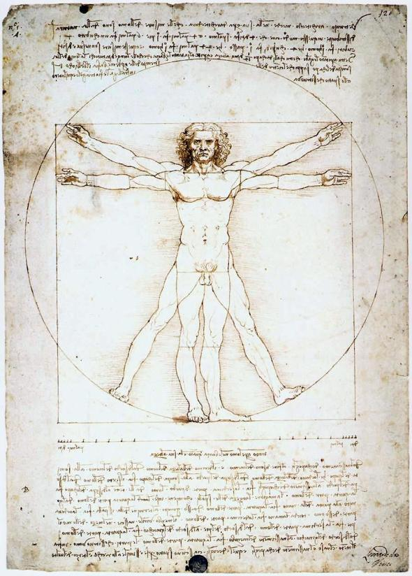 da Vinci's Vitrvuian Man. Human figure with arms and legs outstretched showing the ratios of the perfect form.