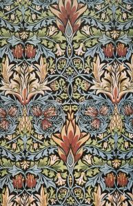 A panel from the Morris Snakeshead textile showing flowers with interwoven branches and leaves, from the Arts and Crafts movement.