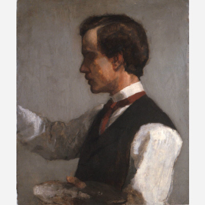Portrait, side view, of a man before middle-age, with dark receding hair, wearing a waistcoat and red tie over a white shirt. He appears to be painting.
